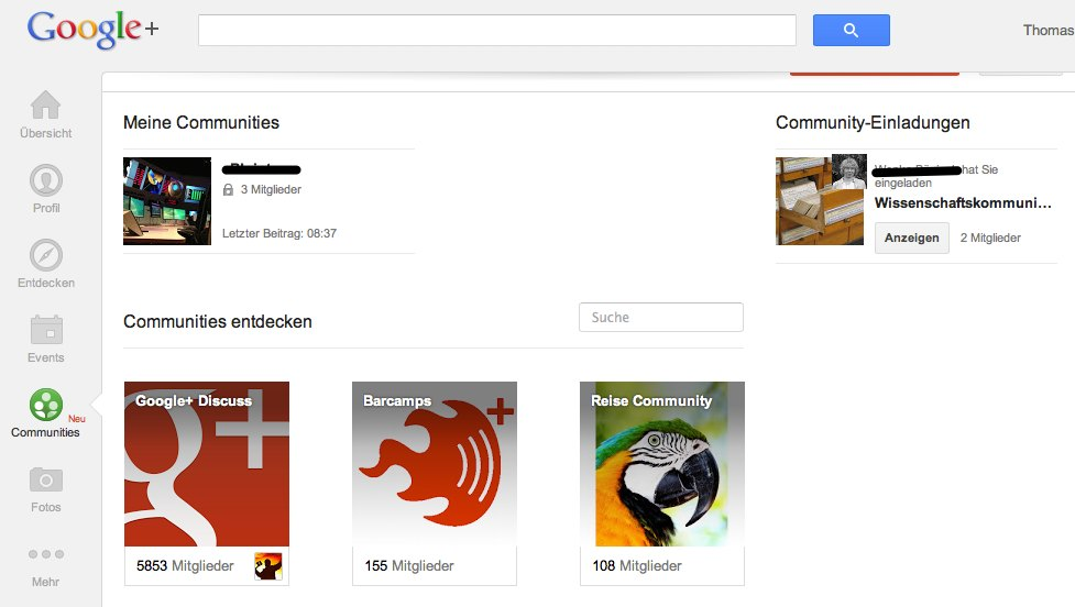 Screenshot: Community-Bereich bei Google+