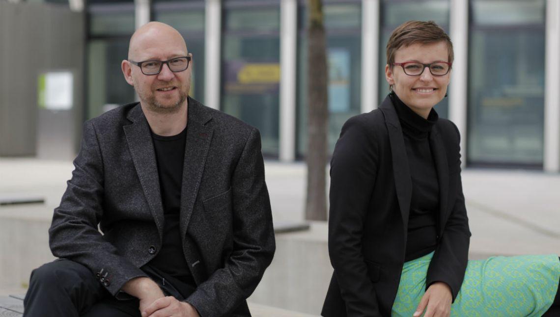 Pia Sue Helferich und Thomas Pleil, Gründer von Steinbeis flux